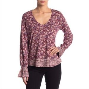 Lucky Brand Floral Bell Sleeve Blouse